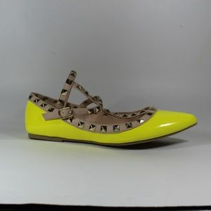 Wild Diva Shoes - WILD DIVA NEON YELLOW STUDDED ANKLE STRAP FLATS 6